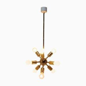 Lámpara de araña Sputnik era espacial de latón de 10 brazos de Drupol, años 60