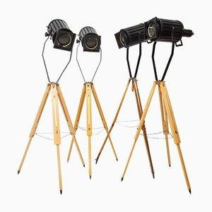 Industrielle Scheinwerfer Dreibein Stehlampen, 1960er