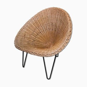 Sessel aus Korbgeflecht & Eisen, Frankreich, 1950er