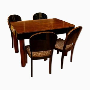 German Art Deco Dining Table & Chairs Set in Oak, 1930s, Set of 5