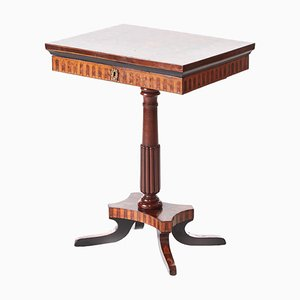 Antique Walnut Marquetry Inlaid Lamp Table, 1850s