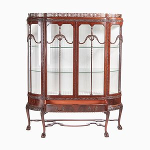 Chippendale Revival Carved Mahogany Breakfront Display Cabinet, 1900s