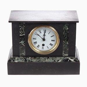 Antique Black Slate & Marble Mantel Clock