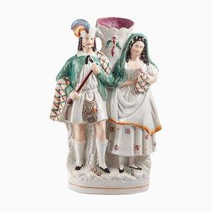 Antike Staffordshire Pottery Spill Vase