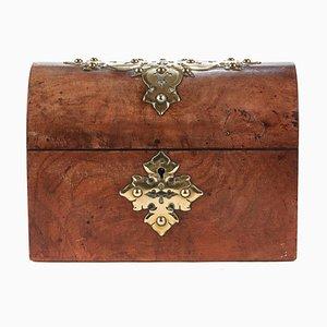 Antique Burr Walnut & Brass Bound Box