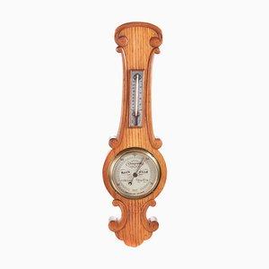 Small Antique Oak Banjo Barometer, 1880s
