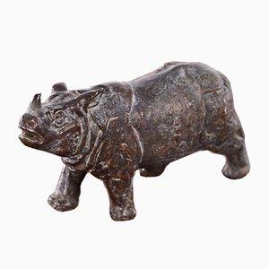 Antique Miniature Bronze Rhino, 1900s