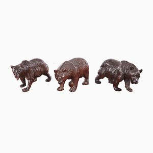 Antique Carved Black Forest Bears, 1860s, Set of 3