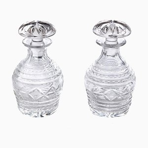 Cut Glass Crystal Decanters, 1920s, Set of 2