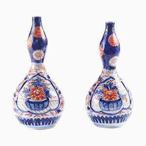 Antique Japanese Imari Gourd Vases, Set of 2