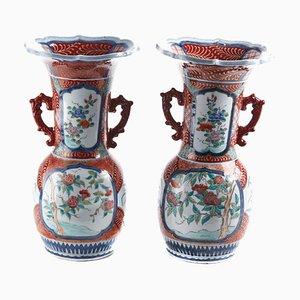 Antique Japanese Hand-Painted Imari Vases, Set of 2