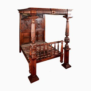 Antique Victorian Carved Oak & Marquetry Inlaid 4-Poster Bed