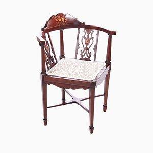 Antique Edwardian Inlaid Mahogany Corner Chair
