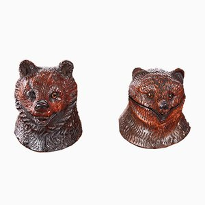 Antique Carved Inkwells of Black Forest Bears, 1860s, Set of 2