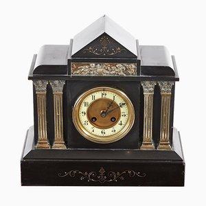 Victorian Black Marble Mantel Clock, 1860s