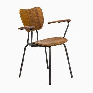 Schwedischer Mid-Century Armlehnstuhl aus Stahlrohr und Teakholz