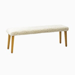 Vintage Swedish Pine and Sheepskin Sportstugemöbler Bench