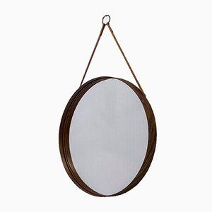 Round Rosewood Mirror from Glasmäster, 1950s