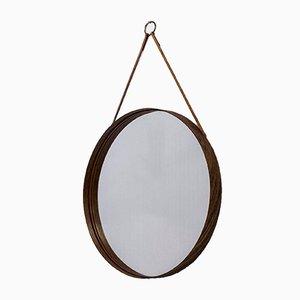Runder Palisander Spiegel von Glasmäster, 1950er