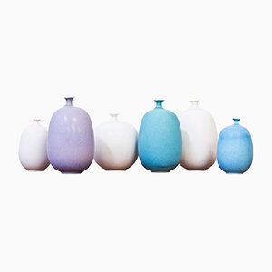 Stoneware Vases by Inger Persson for Rörstrand, 1980s, Set of 6