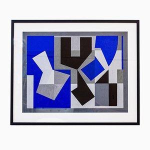 Gouache Malerei in Blau von Tore Nyberg, 1955