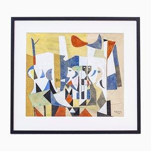 Peinture Gouache par Tore Nyberg, 1950