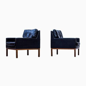 Danish Leather Easy Chairs, 1960s, Set of 2