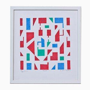 Mosaik Pochoir Druck von Laila Prytz, 1960er