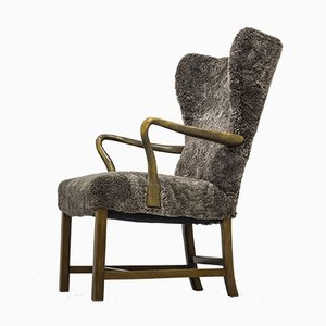 Wingback Lounge Chair in the Style of Frits Henningsen, 1940s