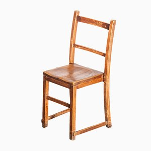 Handmade Elm Chapel or Church Stacking Dining Chair, England, 1920s