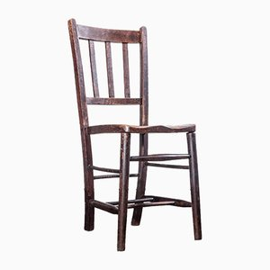 Handmade Dark Elm Church or Chapel Dining Chair, England, 1920s