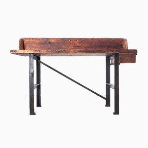 Antique Industrial Handmade Mill Work Bench or Console Table with Upstand, England, 1890s