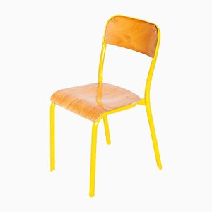 Industrial Yellow Framed Stacking School Dining Chair, England, 1960s
