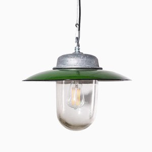 French Industrial Enameled Pendant Lamp with Shades in Original Glass, 1960s