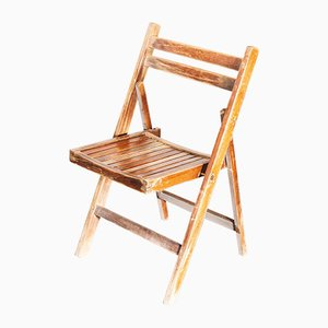 Industrial Beech and Walnut Stain Outdoor Folding Chair, France, 1960s