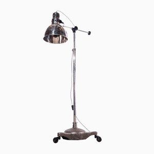 Industrial Adjustable Chrome Floor Lamp with Swivel Base on Wheels, Russia, 1950s