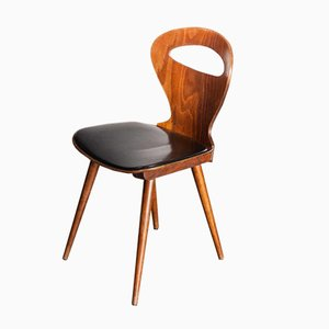 French Fourmi Dining Chair with Upholstered Seat from Baumann, 1950s