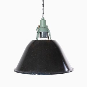 Industrial Large Enamel Ceiling Pendant Lamp from USSR, 1960s