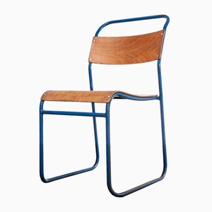 Tubular Metal Stacking Dining Chair with Blue Frame from Remploy, 1950s
