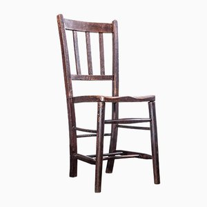 Vintage English Dark Elm Church or Chapel Dining Chair, 1920s