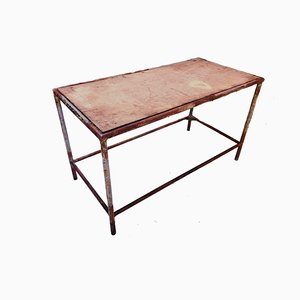 Industrial Iron Frame and Wooden Top Side Table, 1950s
