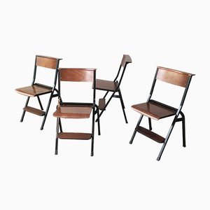 Mid-Century Black Painted Iron and Wood Folding Chairs, 1950s, Set of 4