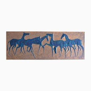 Brutalistisches Kupfer Bild mit Pferden von B. Cuck, 1960er