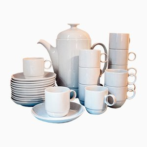 German Porcelain Coffee Set by Ambrogio Pozzi for Rosenthal, 1970s, Set of 25