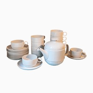 German Porcelain Tea Set by Ambrogio Pozzi for Rosenthal, 1970s, Set of 25