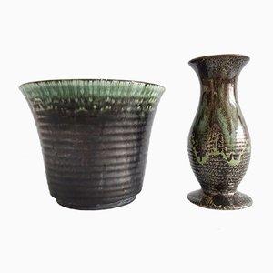 Deutsche Mid-Century Vase und Pflanzer aus Keramik, 1940er