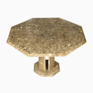 Regency Style Italian Octagonal Textured Resin and Quartz Dining Table, 1970s