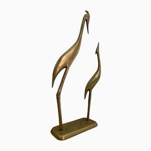 Mid-Century Brass Pair of Herons Sculpture on Pedestal, 1960s