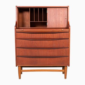 Vintage Danish Teak Secretaire with Mirror and Drawers, 1960s