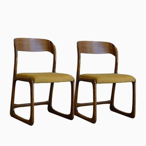 Vintage French Traineau or Sleigh Dining Chairs in Ash by Emile & Walter Baumann, 1960s, Set of 2